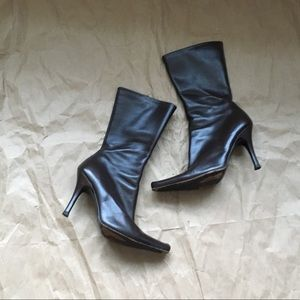 CHARLES DAVID Brown Leather Boots 6.5